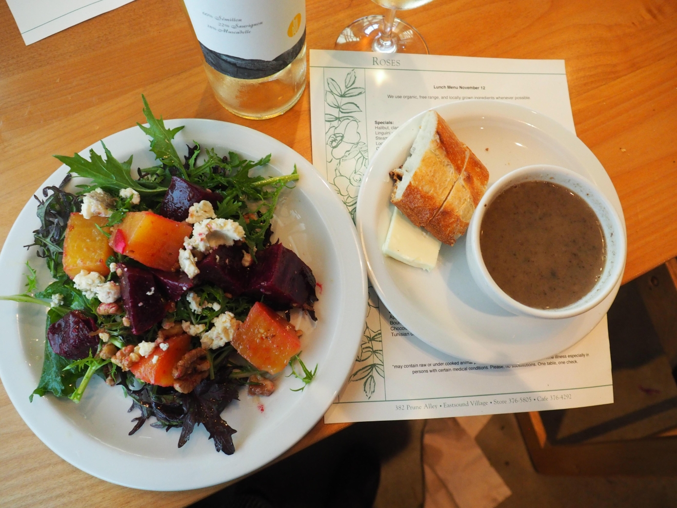 Beet salad and veggie soup at Roses Bakery Cafe. So good and fresh! (Image: Kate Neidigh / Seattle Refined)