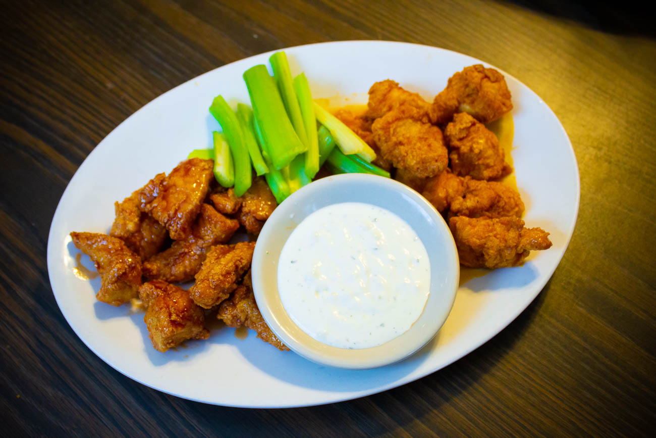 Barbecue and buffalo Chicken Bites with celery and ranch / Image: Katie Robinson, Cincinnati Refined // Published: 10.15.18