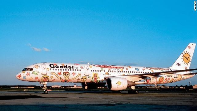 Condor's crazy-looking Rizzi-bird livery was created by the late American artist James Rizzi to commemorate the German airline's 40th anniversary in the mid-1990s.