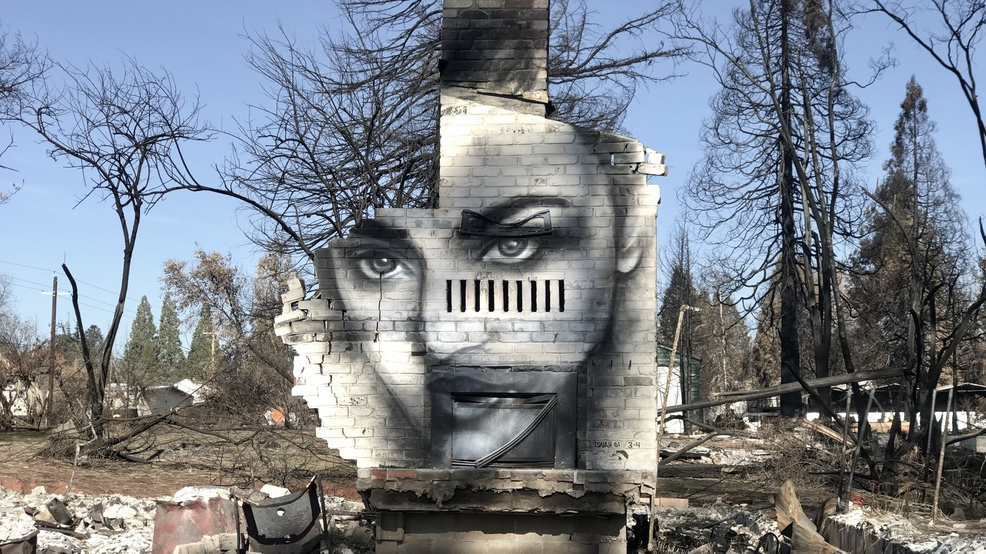 Beauty Among The Ashes: Man paints mural on charred