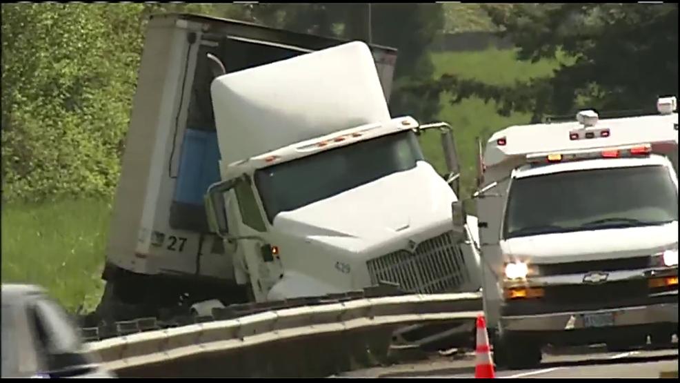 Semi truck crashes on Beltline near Delta Hwy in Eugene, leaks fuel
