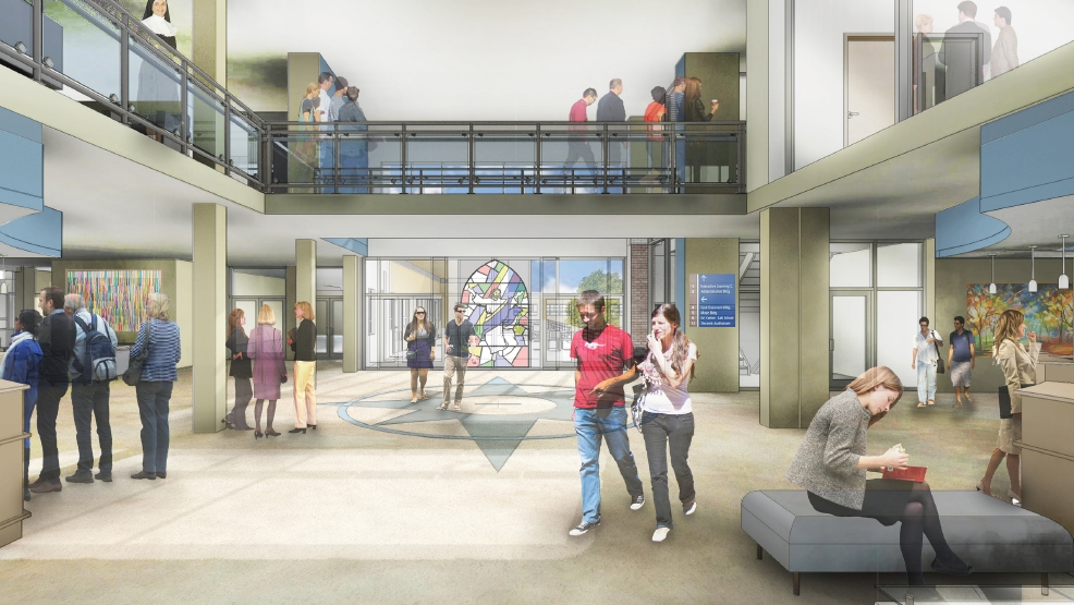 This rendering shows renovations to the lobby of Main Hall at Silver Lake College. (Image courtesy Silver Lake College)