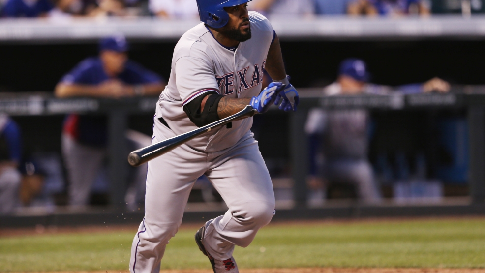 Texas Rangers' Prince Fielder breaks from the batter's box after singling against the Colorado Rockies in the fourth inning of an interleague baseball game in Denver on Monday, May 5, 2014. (AP Photo/David Zalubowski)