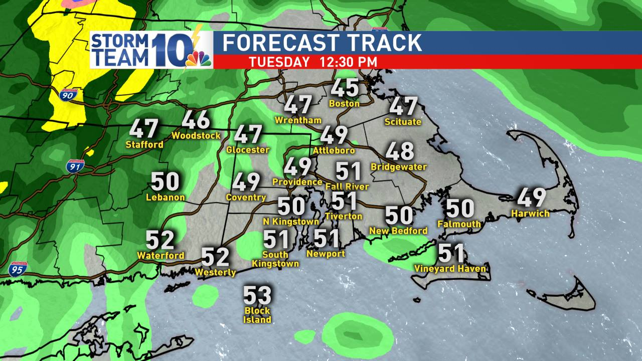 Mild temps by midday Tuesday