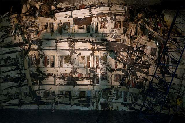 A detail of the right side of the Costa Concordia is seen after it was lifted upright.