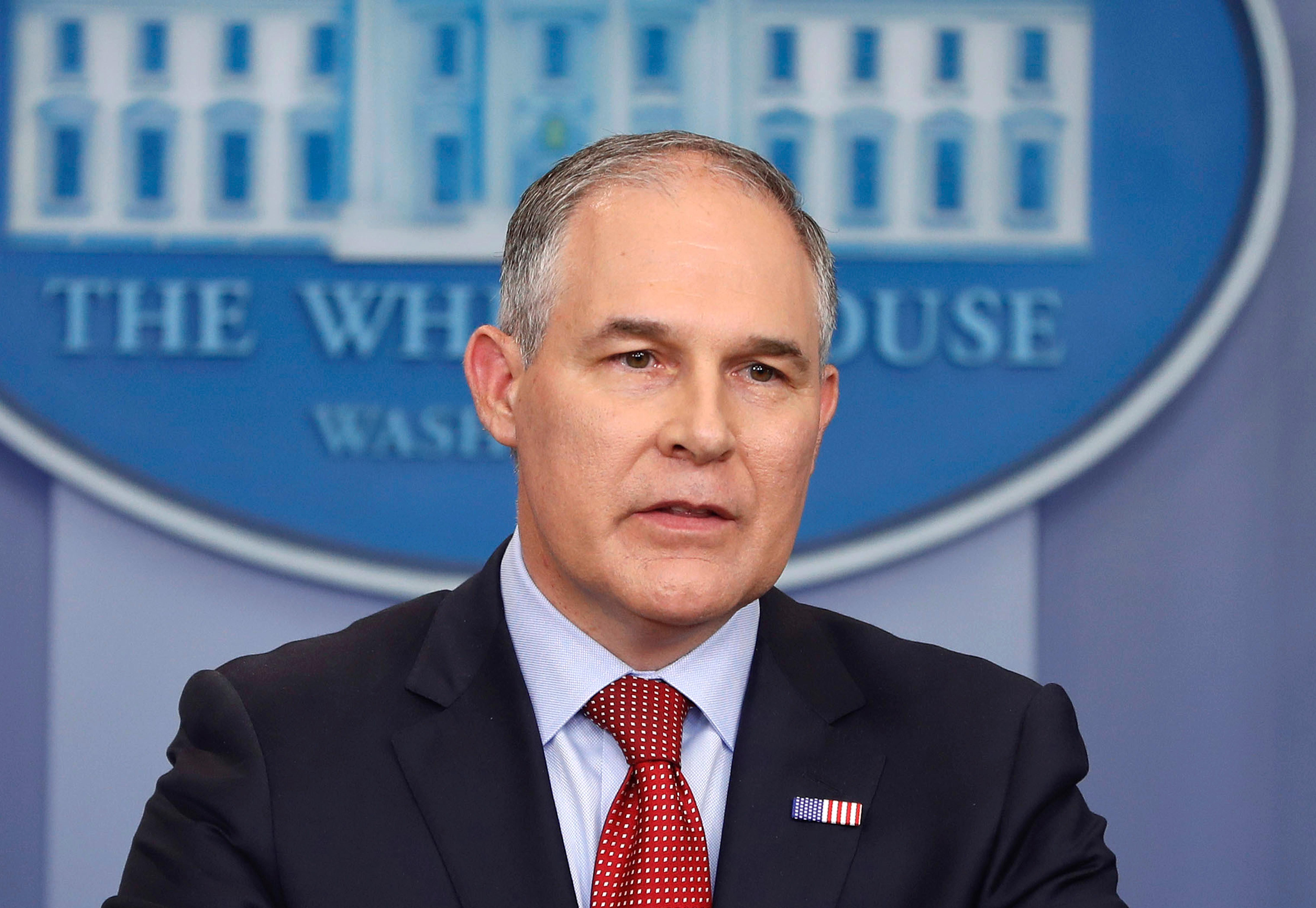 "FILE - In this June 2, 2017 file photo, EPA Administrator Scott Pruitt speaks in the Brady Press Briefing Room of the White House in Washington. Speaking in Kentucky on Monday, Pruitt said he will sign a proposed rule on Tuesday ""to withdraw the so-called clean power plan of the past administration.""  (AP Photo/Pablo Martinez Monsivais, File)"