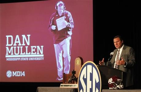 Mississippi State coach Dan Mullen speaks to media at the Southeastern Conference NCAA college football media days, Tuesday, July 15, 2014, in Hoover, Ala.