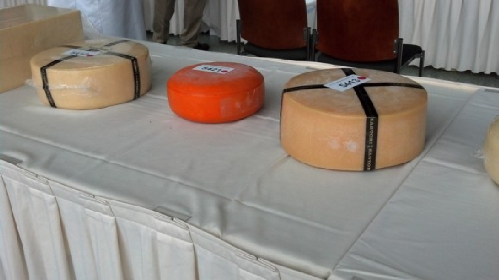 Cheeses are judged at the U.S. Championship Cheese Contest, March 12, 2013. (WLUK/Kelly Schlicht)
