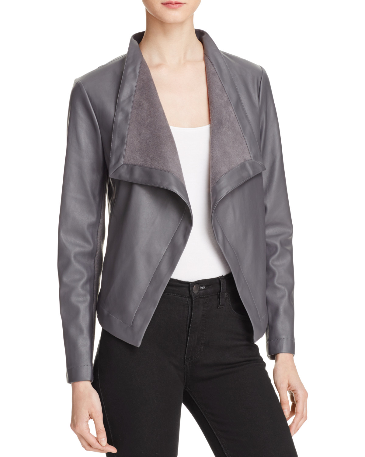 BB Dakota Peppin Draped Faux Leather Jacket from Bloomingdale's // Price: $87 // (Photo courtesy: Bloomingdale's)<p></p>