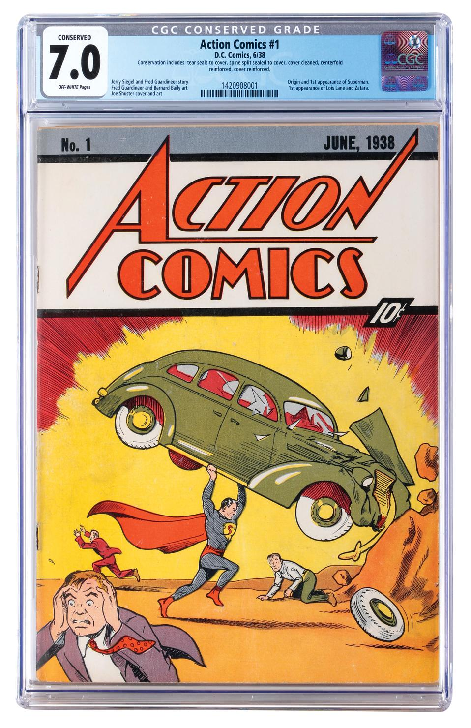 This image released by Profiles in History shows a June 1938 Action Comics #1 issue, one of many Superman items up for auction on Dec. 19 in Los Angeles. (Profiles in History via AP)