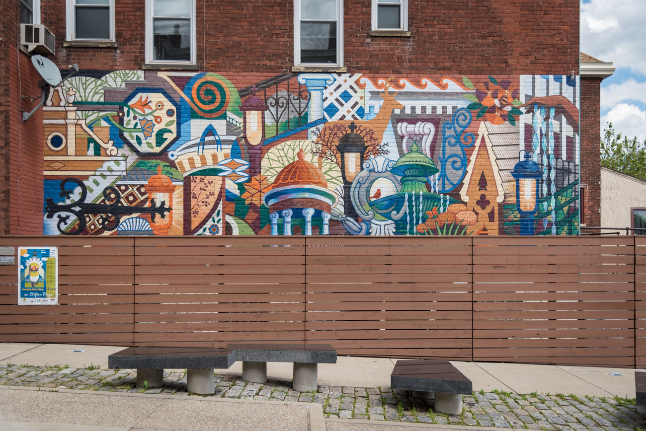 PARK: Clifton Plaza / LOCATION: 333 Ludlow Ave. (45220) / FUN FACT: Clifton Plaza's mural was designed by artist Jan Brown Checco. / IMAGE: Phil Armstrong, Cincinnati Refined // PUBLISHED: 5.8.17