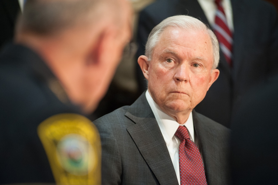 FILE - In this{&amp;nbsp;} July 19, 2017 photo, Attorney General Jeff Sessions met with law enforcement officials. (Photo credit: Matthew T. Nichols, Department of Justice)<p></p>