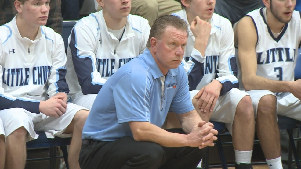 Little Chute head basketball coach Mickey Martin watches his team play Ripon.