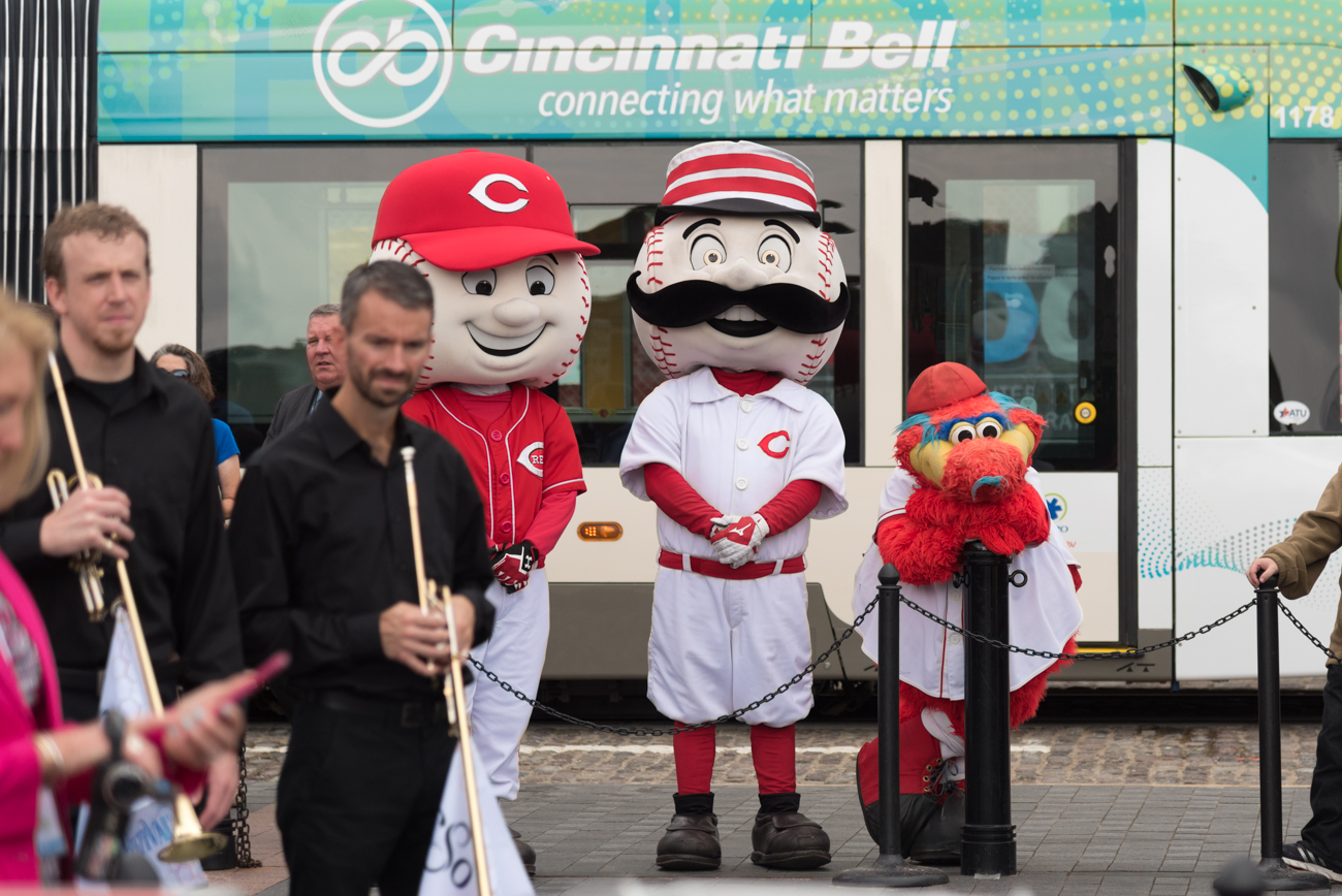 Mr. Red, Mr. Redlegs, and Gapper / Image: Phil Armstrong, Cincinnati Refined