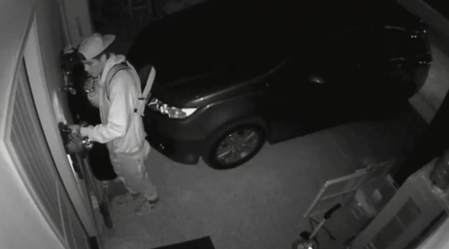 Crooks are getting clever in Summerlin by stealing garage door openers to try and get inside homes. Chilling home security video shows how one family was targeted while they were sleeping near Fox Hill and Alta. (Photo provided)