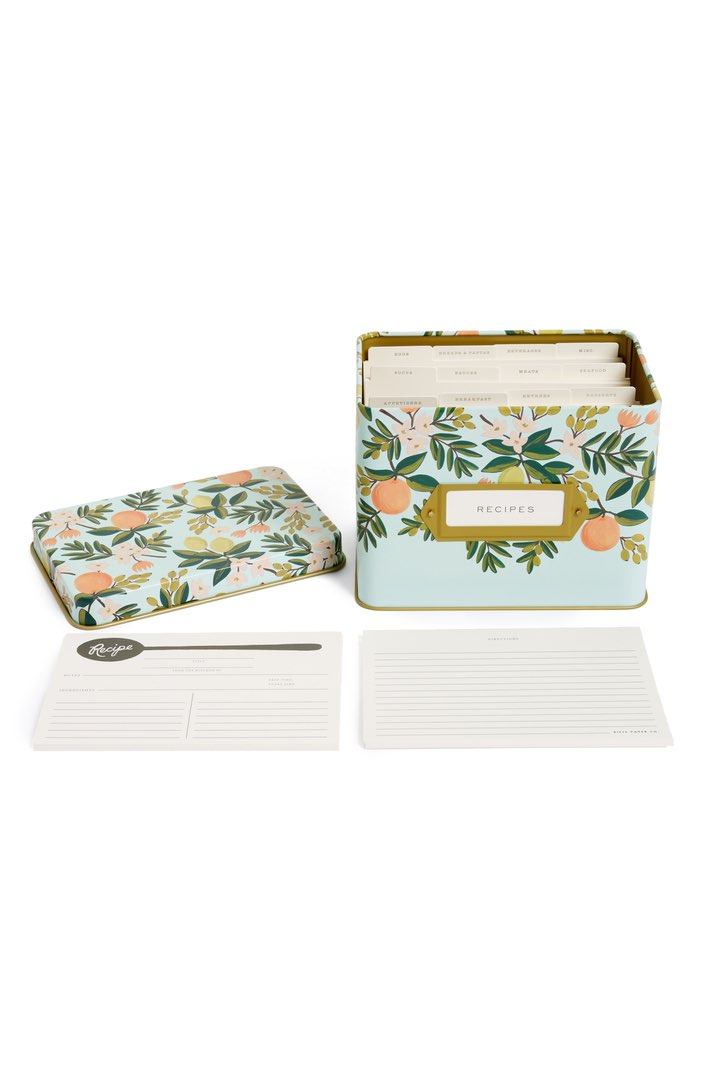 Rifle Paper Co. Citrus Floral Recipe Tin ($34). It's time to celebrate Momma.  Here is our Nordie's gift guide for items under $50! (Image: Nordstrom)