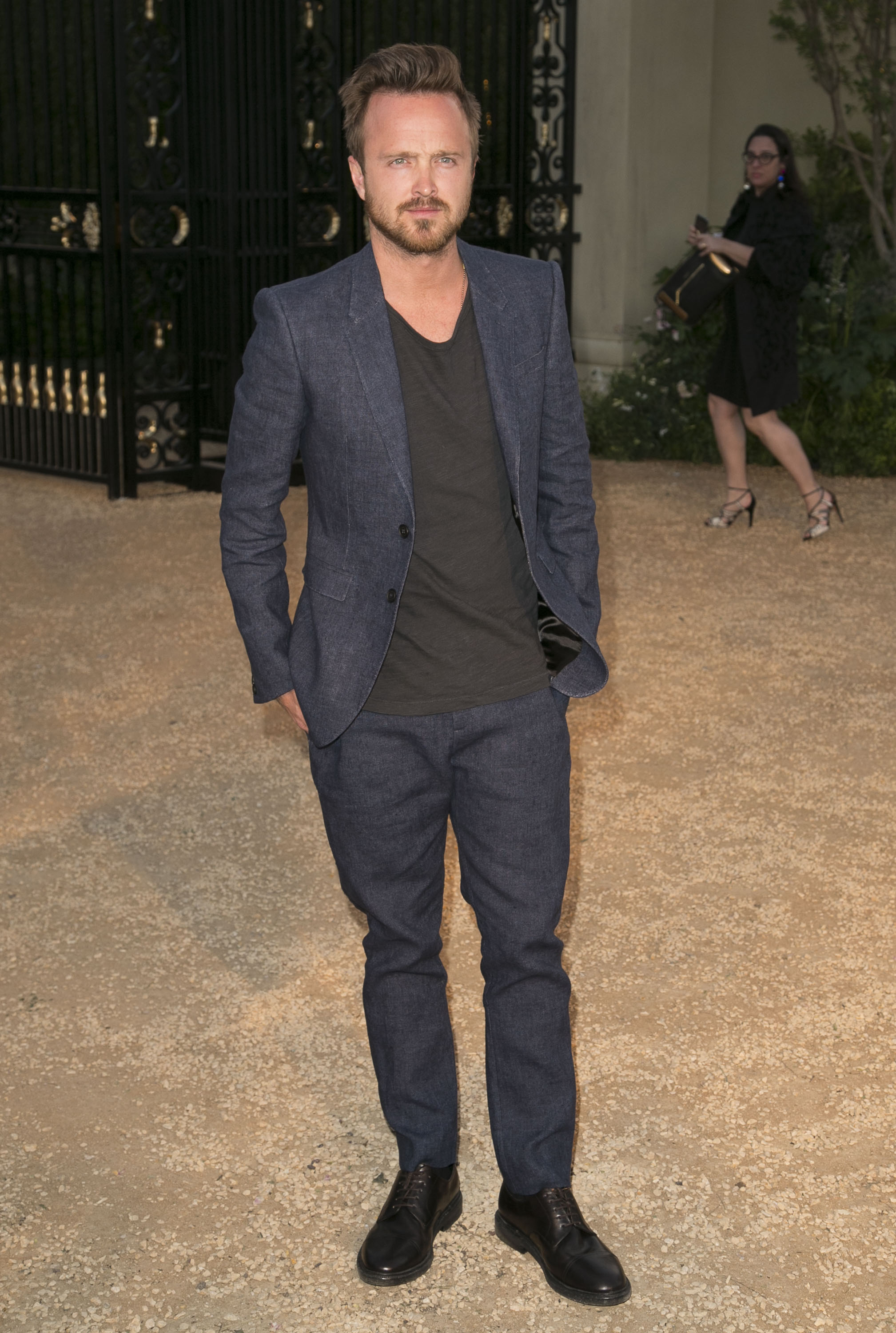 Aaron Paul attends the Burberry London in Los Angeles event at Griffith Observatory on April 17, 2015. (Brian To/WENN)