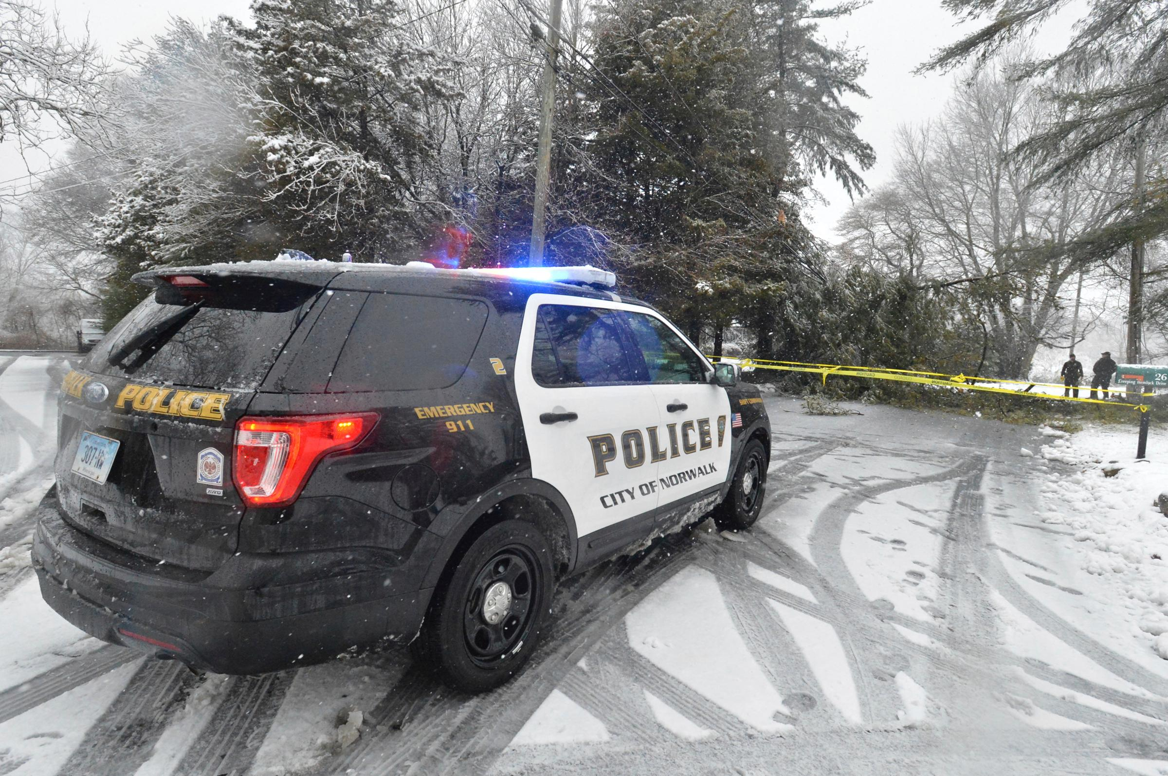 Norwalk Police respond and close Creeping Hemlock Road after a tree fell on wires during the snowstorm on Wednesday, March 7, 2018, in Norwalk, Conn. (Alex von Kleydorff/Hearst Connecticut Media via AP)