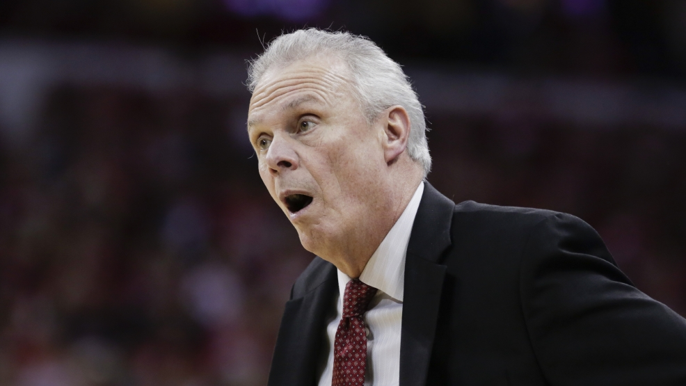 Wisconsin coach Bo Ryan disputes a call during the second half of an NCAA college basketball game against Indiana, Tuesday, Feb. 25, 2014, in Madison, Wis. Wisconsin won 69-58. (AP Photo/Andy Manis)