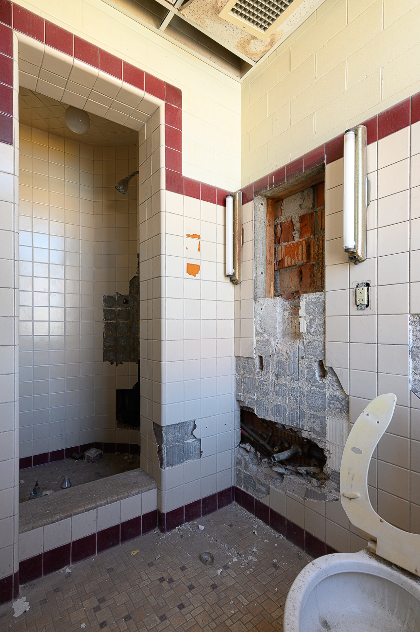An upstairs bathroom that will be remodeled.{ }As of this writing, work is being done to stabilize and clean up the building. / Image: Phil Armstrong, Cincinnati Refined // Published: 10.4.19