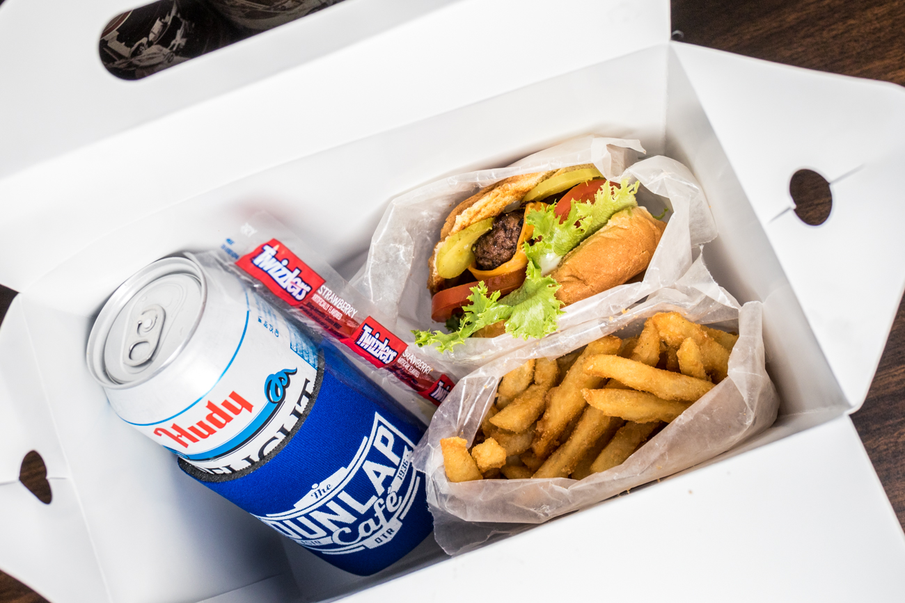The Super Basic Adult Happy Meal Box: burger, fries, Hudy Delight, candy, and a coozie for a prize / Image: Catherine Viox{ }// Published: 9.4.20