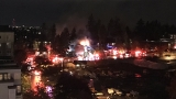 Firefighters battling 2-alarm fire in downtown Bellevue, multiple people injured