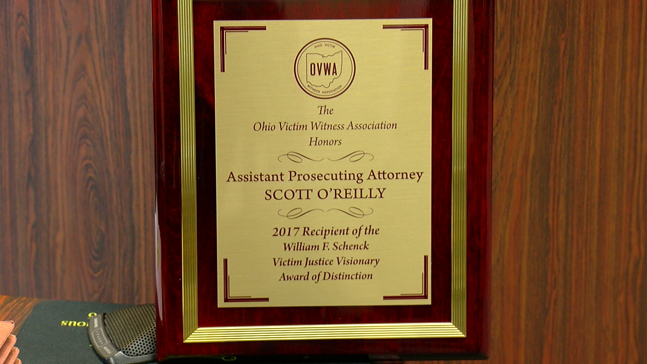 Clermont County prosecutor Scott O'Reilly has been recognized statewide for his work with crime victims and he draws his inspiration and passion from his late wife.