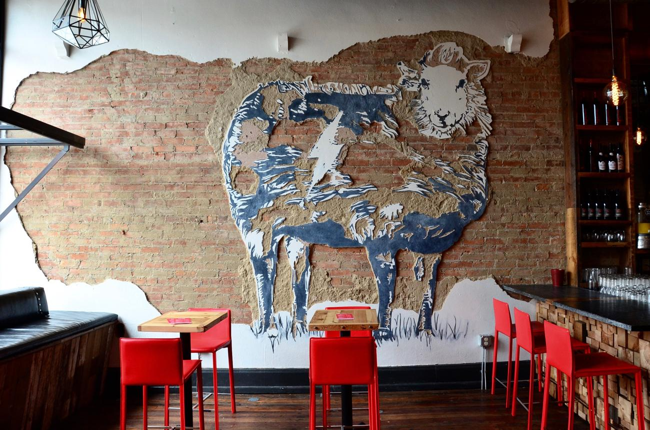 "The ""Black Sheep"" relief plaster mural was created by Jeff Crowe. / Image: Leah Zipperstein, Cincinnati Refined // Published: 5.19.17"