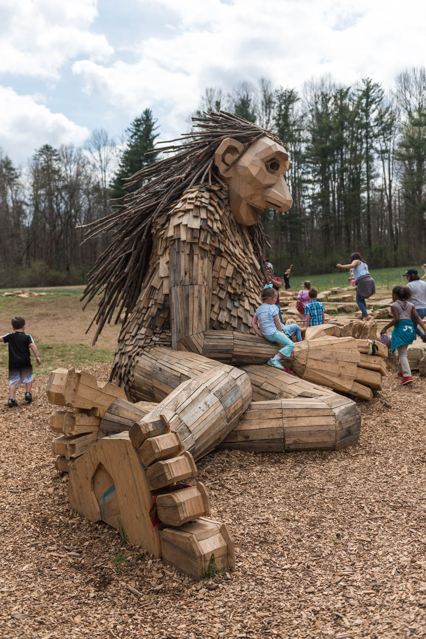 In the Bernheim Arboretum and Research Forest two hours south of Cincinnati, Danish artist Thomas Dambo erected a family of giant troll structures. The sculptures—Mama Loumari and her two children, Little Nis and Little Elina—were crafted from recycled and repurposed wood that even included material from the nearby Louisville Slugger Factory. Weather permitting, the art installation should last a total of three years. Bernheim Forest is located 30 miles south of Louisville. ADDRESS: 2075 Clermont Road, Clermont, KY (40110) / Image: Mike Menke // Published: 4.23.19