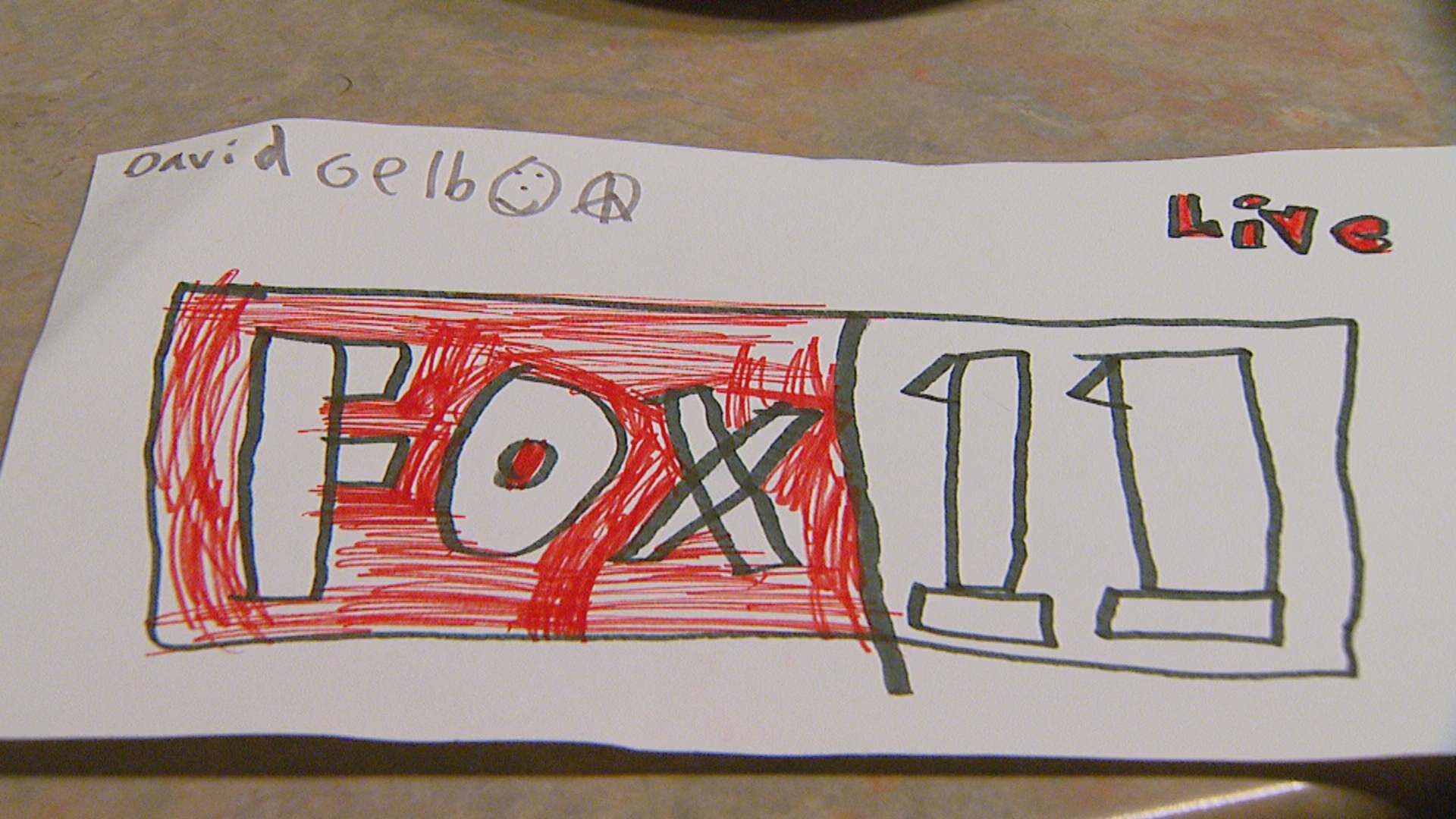 {&amp;nbsp;}A David Gelb drawing of FOX 11 logo. (WLUK/Jesse Basinski)<p></p>