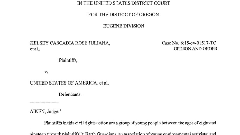 Court Rules Kids Can Sue Over Climate Change