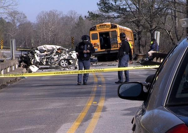 Iwo adults and a 7-year-old girl were injured after a Pell City school bus collided with a sedan near a bridge in St. Clair County on Friday, January 18, 2013.