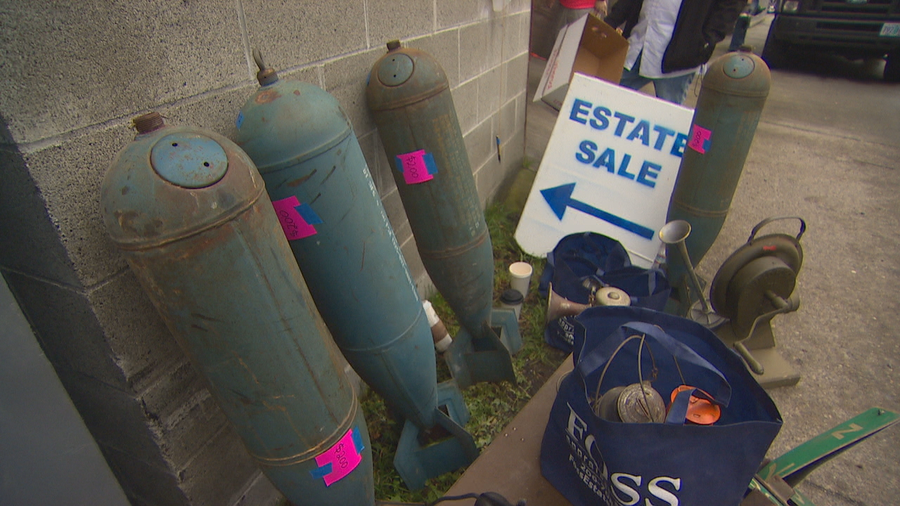 SEATTLE - An incredible collection of military and WWII-era memorabilia is up for grabs in Seattle this weekend. The 3-day estate sale is hosted by Foss Estate Sales and features unusual and eclectic antiques like old bomb shells, eclectic antiques, and even three full-sized tanks. The sale is being held at 7223 Aurora Avenue N in Seattle through Sunday, and hours are 9 a.m. until 4 p.m. (KOMO PHOTOS/ March 4, 2016) More information: http://fossestatesales.com/seattle-estate-sale-9/