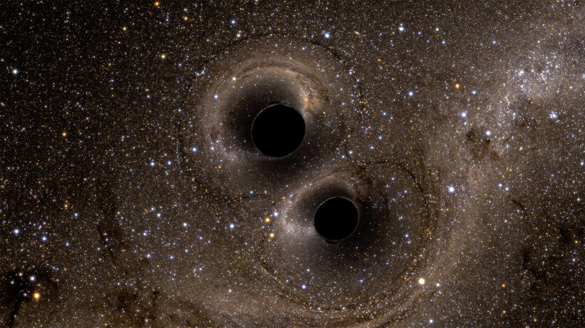 Artist rendering of black holes from which waves originated. (Photo courtesy University of Oregon)