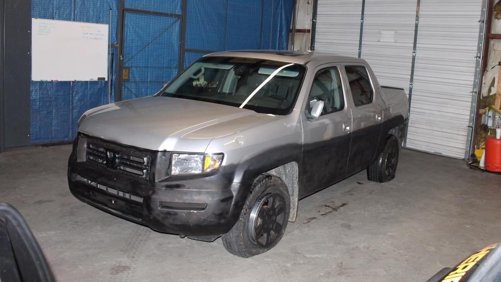 Henderson County authorities released photos of Tommy Bryson's Honda Ridgeline after Phillip Stroupe II's capture. Warrants say Stoupe tried to disguise Bryson's truck while he was on the run from authorities. (Photo credit: Henderson County Sheriff's Office)