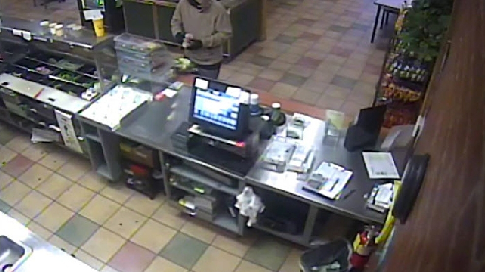 Surveillance image of a May 25, 2014 robbery at the Subway restaurant, 825 S. Huron St., Green Bay. (Green Bay Police Dept.)