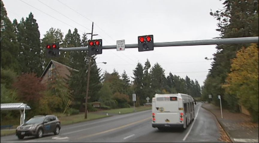 "Ruark pans to his right, capturing video of the LTD bus passing through a double red light. The double red light means ""stop"" in a Pedestrian Hybrid Beacon. Once the light switches to alternating flashing reds, motorists can resume travel once the crosswalk is clear. (SBG)"