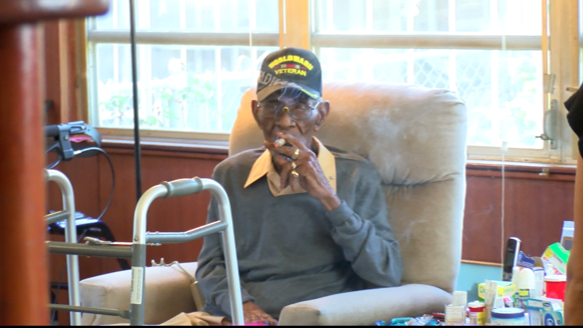 Richard Overton, the nation's oldest living WW II veteran, is enjoying his newly renovated Austin home. (CBS Austin)