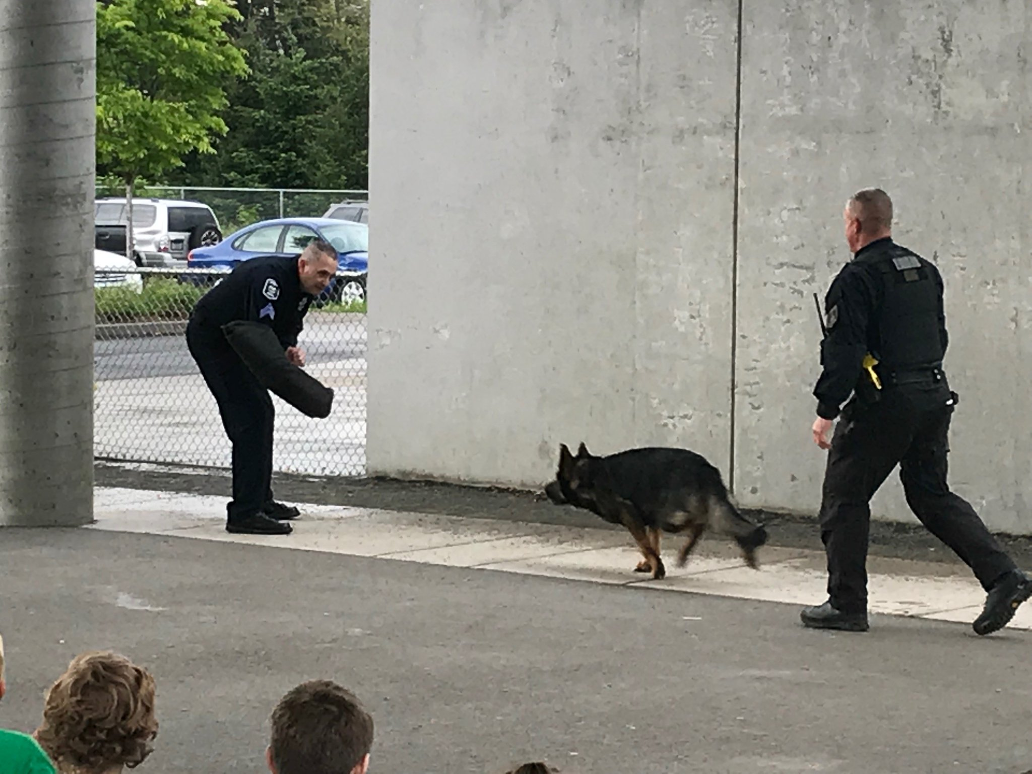 Sgt. Jason Berreth and Officer Michael Casey with K9 Cjuk demonstrated police dog work for Cub Scout Pack 75 Tuesday night at Thurston Elementary. (Photo via EPD)