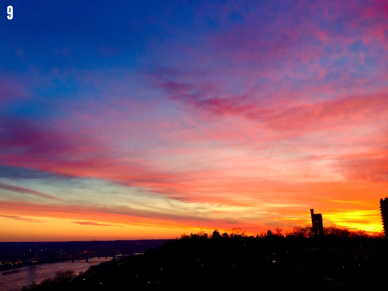 #9 - Just gonna stop right here and soak up this view. Woah... The sunsets lately. Hot damn. / Image: Leah Zipperstein, Cincinnati Refined