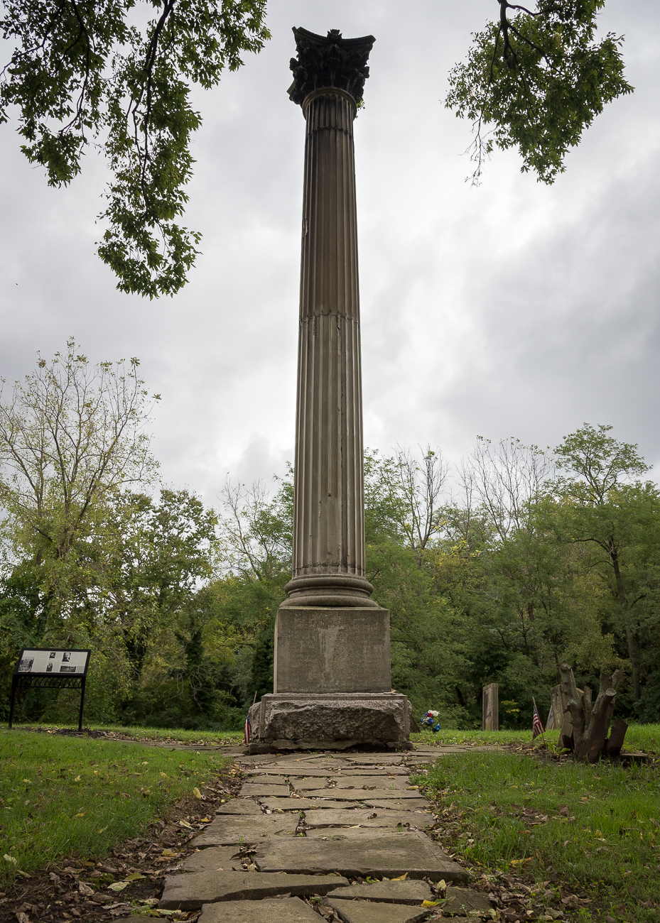 A Corinthian pillar stands at the top of the peak of the graveyard. It is a memorial for the pioneers who settled in Columbia and are buried in the cemetery. / Image: Phil Armstrong, Cincinnati Refined // Published: 10.3.18