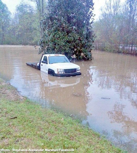 Flash flooding in Coker, Alabama early Monday morning, April 7, 2014.