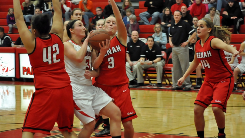 Kimberly's Frankie Wurtz tries to score against the defense of Neenah during their game Friday.