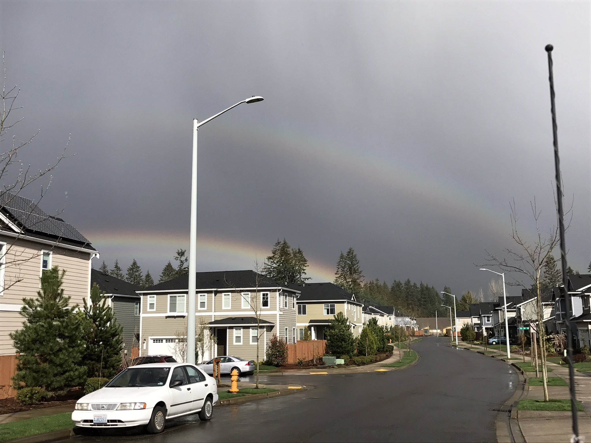 Two rainbows are seen in the sky in Mill Creek, Wash. Monday, April 10, 2017. (Photo: Shaelynn Hade Horton)