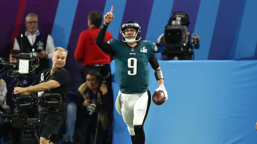 <p>Nick Foles reacts after a 1-yard touchdown reception against the New England Patriots during the second quarter. (Gregory Shamus / Getty Images)<br></p>