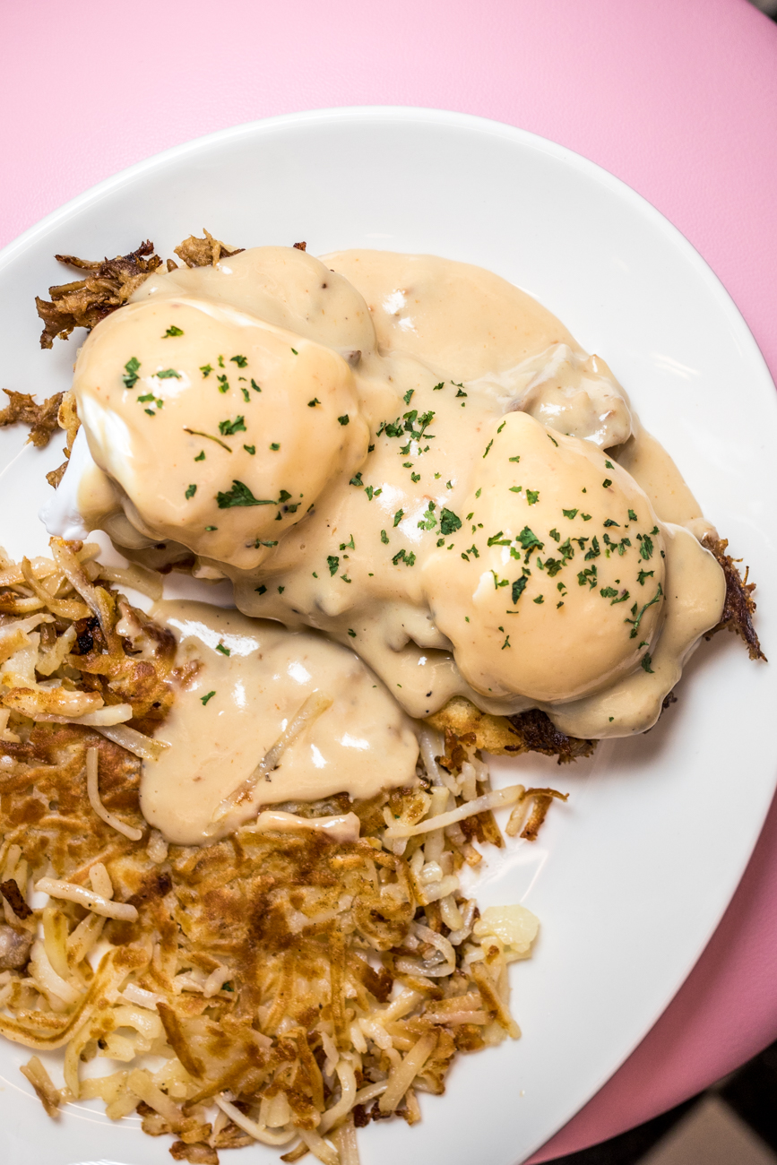 Shredded pork biscuits and gravy with hash browns / Image: Catherine Viox // Published: 7.31.20