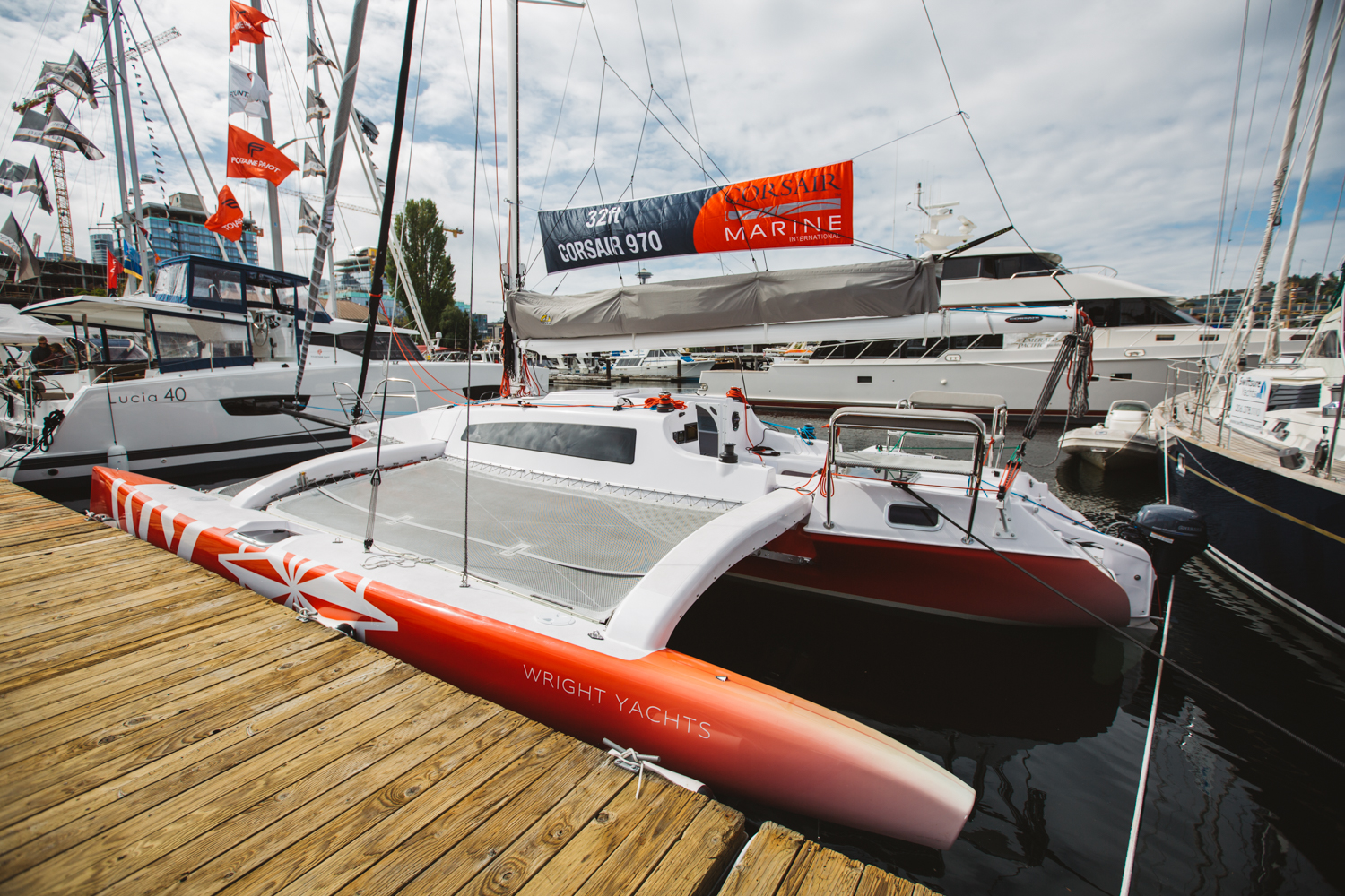 With a fleet that encompasses over 225 vessels, the Boats Afloat Show located at Lake Union highlights some of the finest boats to grace the open waters. This 32' 2018 Corsair 970 Sport boasts a unique package with a foldable mast built for road trailering, and the ability to be at home racing, cruising, and passagemaking. Coming in at $258,000, this trimaran allows you the liberty of spending a weekend with the family, while also exceeding your sailing performance expectations. (Image: Ryan McBoyle / Seattle Refined)