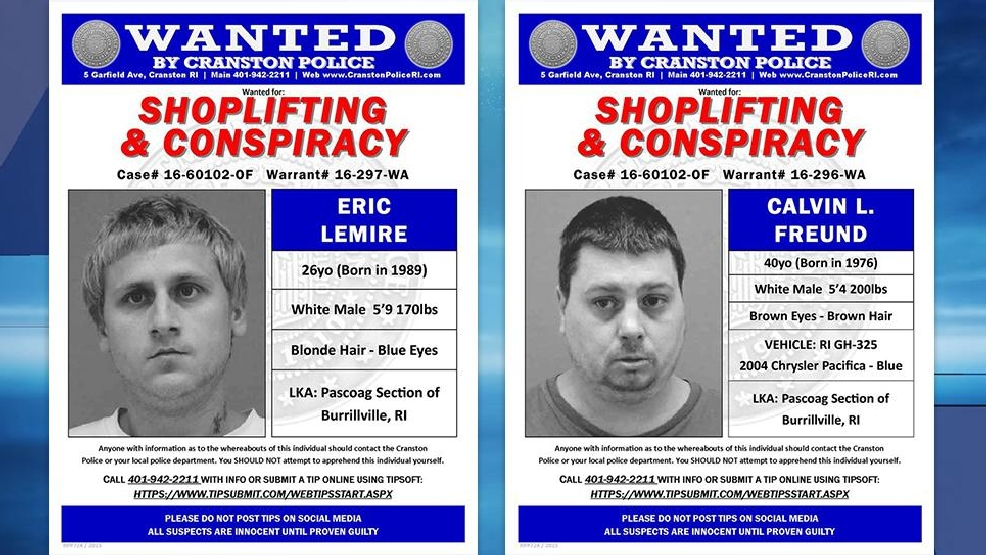 cranston pd searching for 2 shoplifting suspects wjar