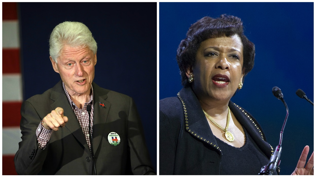 Bill Clinton and Lynch met privately at Phoenix airport Wednesday, June 29, 2016 (Cropped photos courtesy AP)