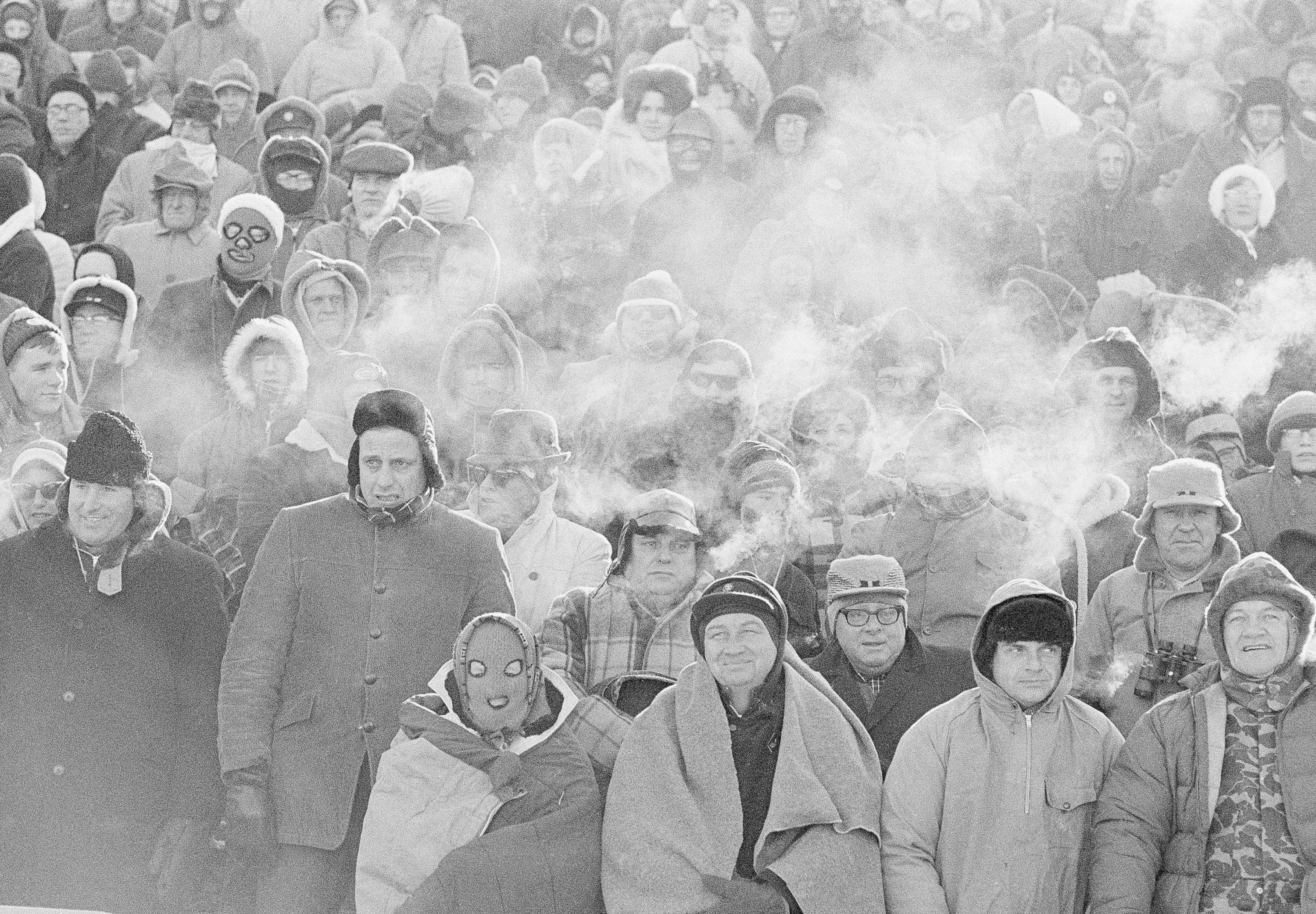 In this Dec. 31, 1967, file photo, fans watch the Green Bay Packers play the Dallas Cowboys in the NFL Championship game in Green Bay. (AP Photo/File)